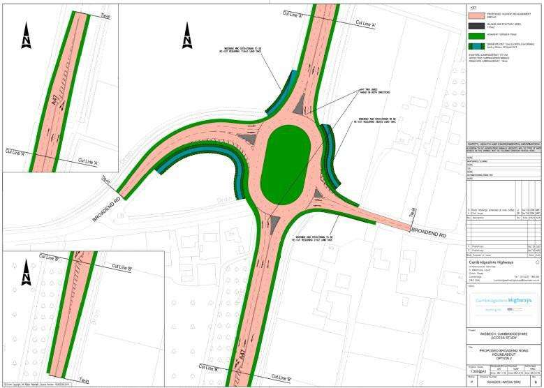A bid has been made for government funding to improve the Broadend Road junction on the A47 at Wisbech - which in turn will help unlock land for housing. There are two options, both of which will see a roundabout built. This is one of the options - the drawing is labelled as an early scheme option drawing.