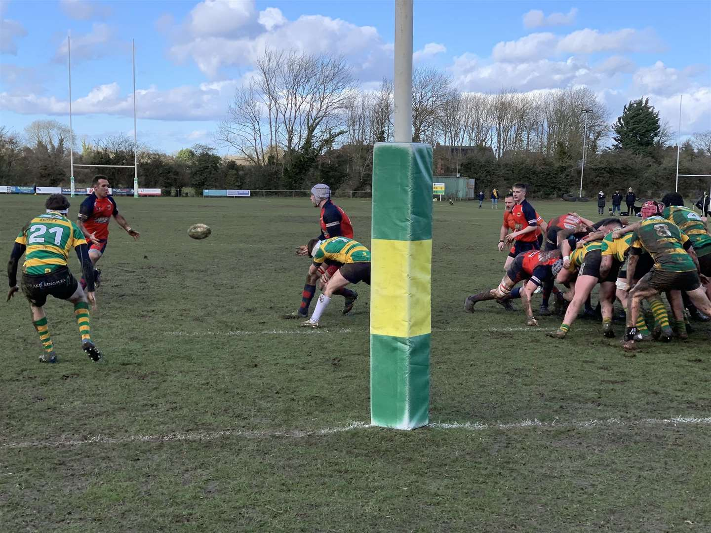 Centre Gerhard Wessels on the charge which led to the first Wisbech try in their epic win over Crusaders away at the end of February (38521121)