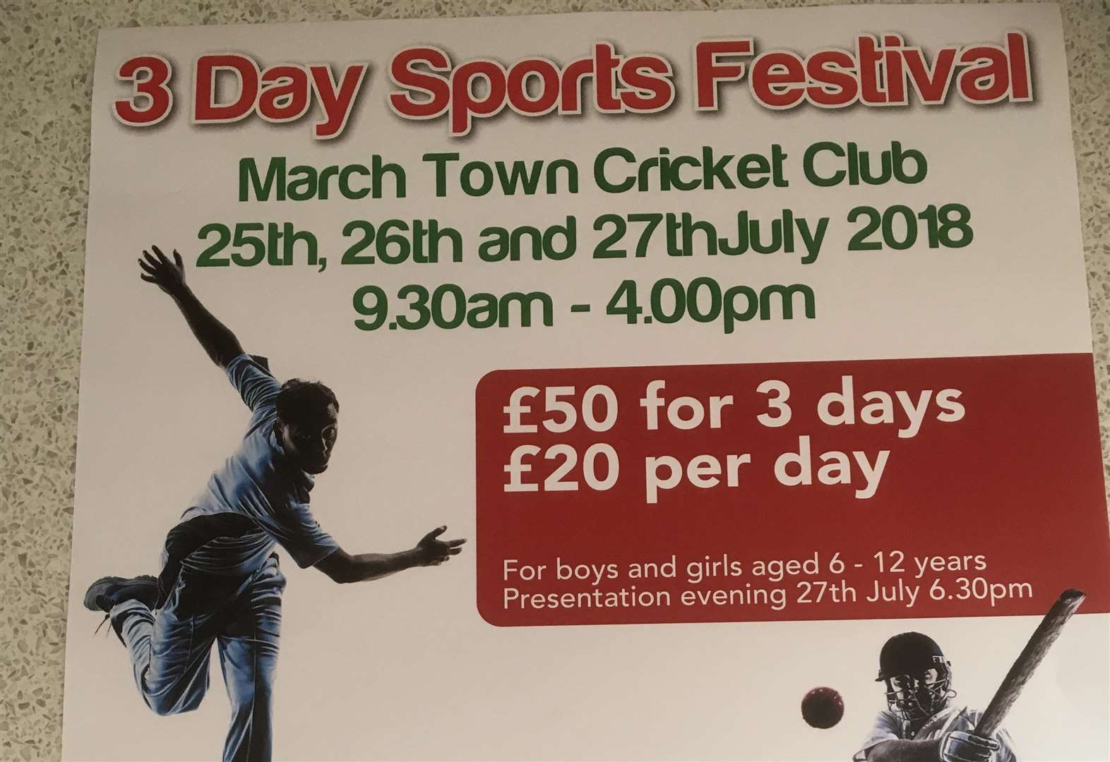 March Town Cricket Club are organising their Annual Three-Day Sports Festival on Wednesday July 25, Thursday, July 26 and Friday, July 27.