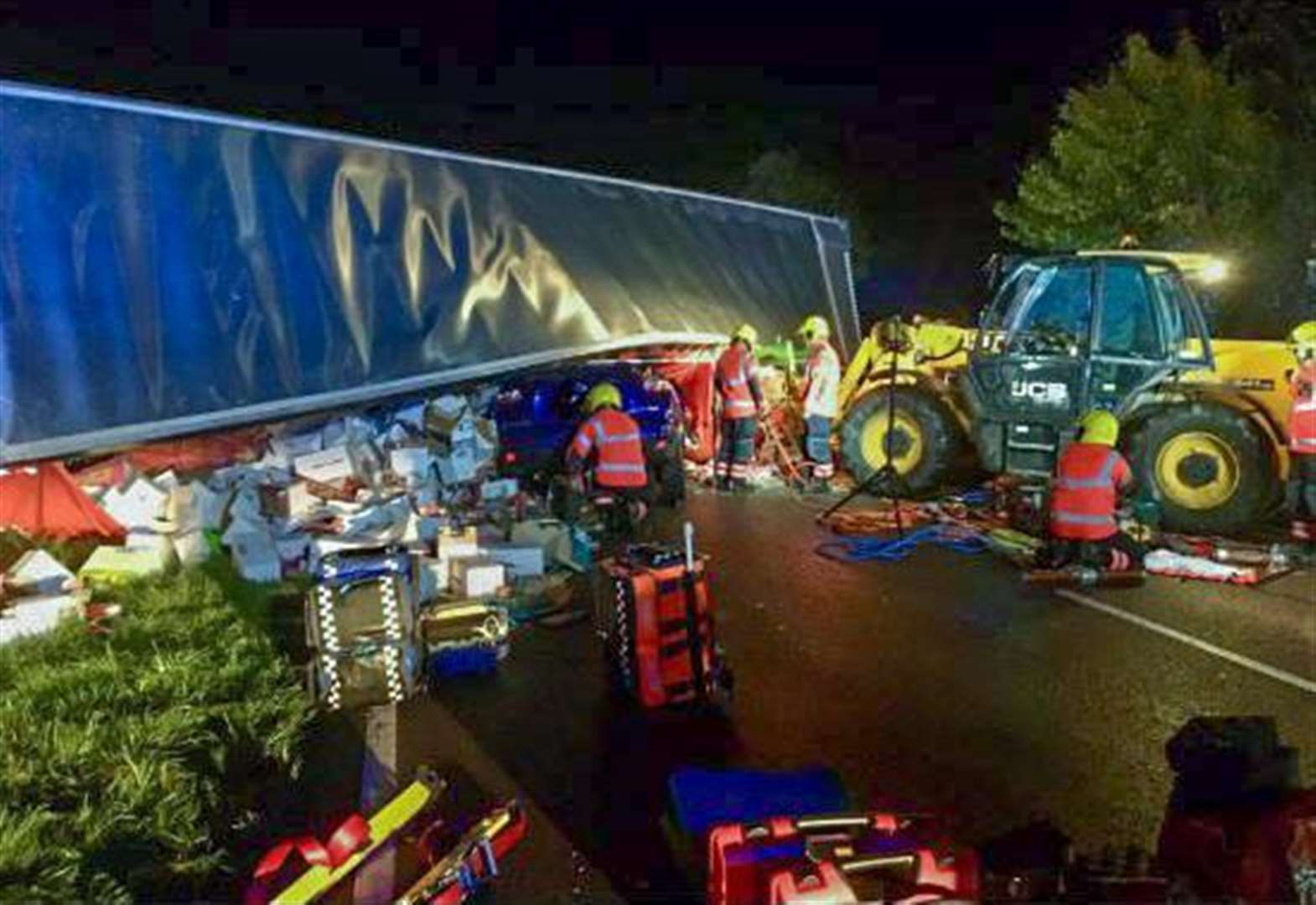 Three people hurt when lorry rolls onto car in Fenland