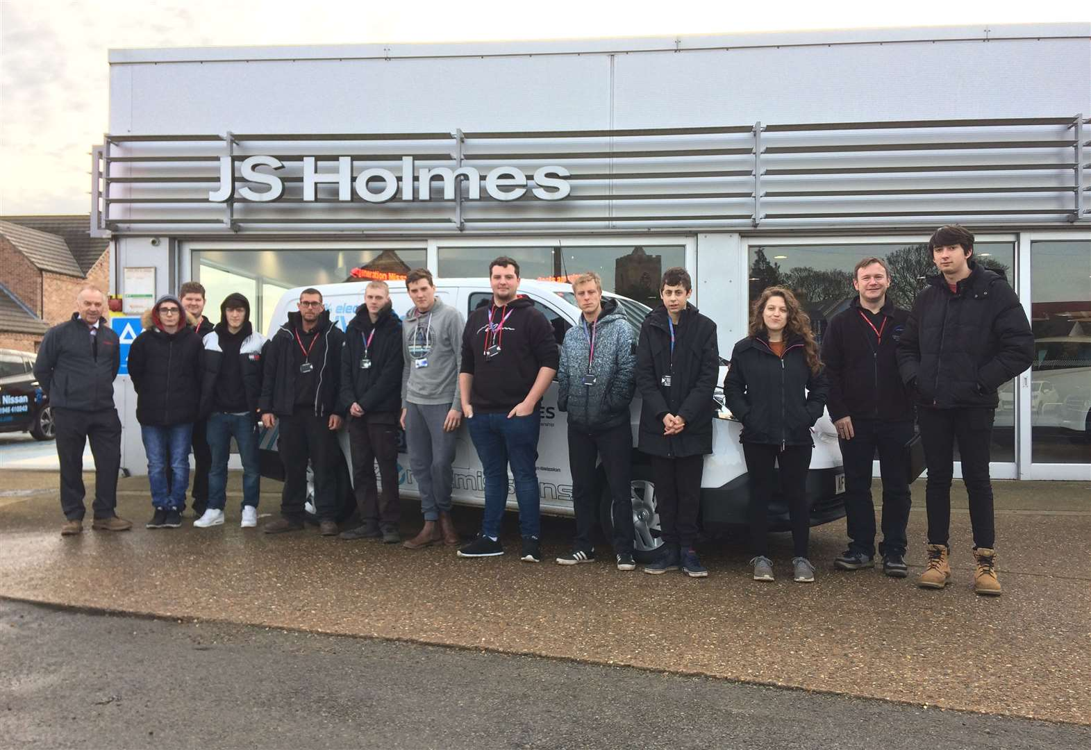 Motor vehicle students from the College of West Anglia attend commercial workshop at J S Holmes in Wisbech St Mary