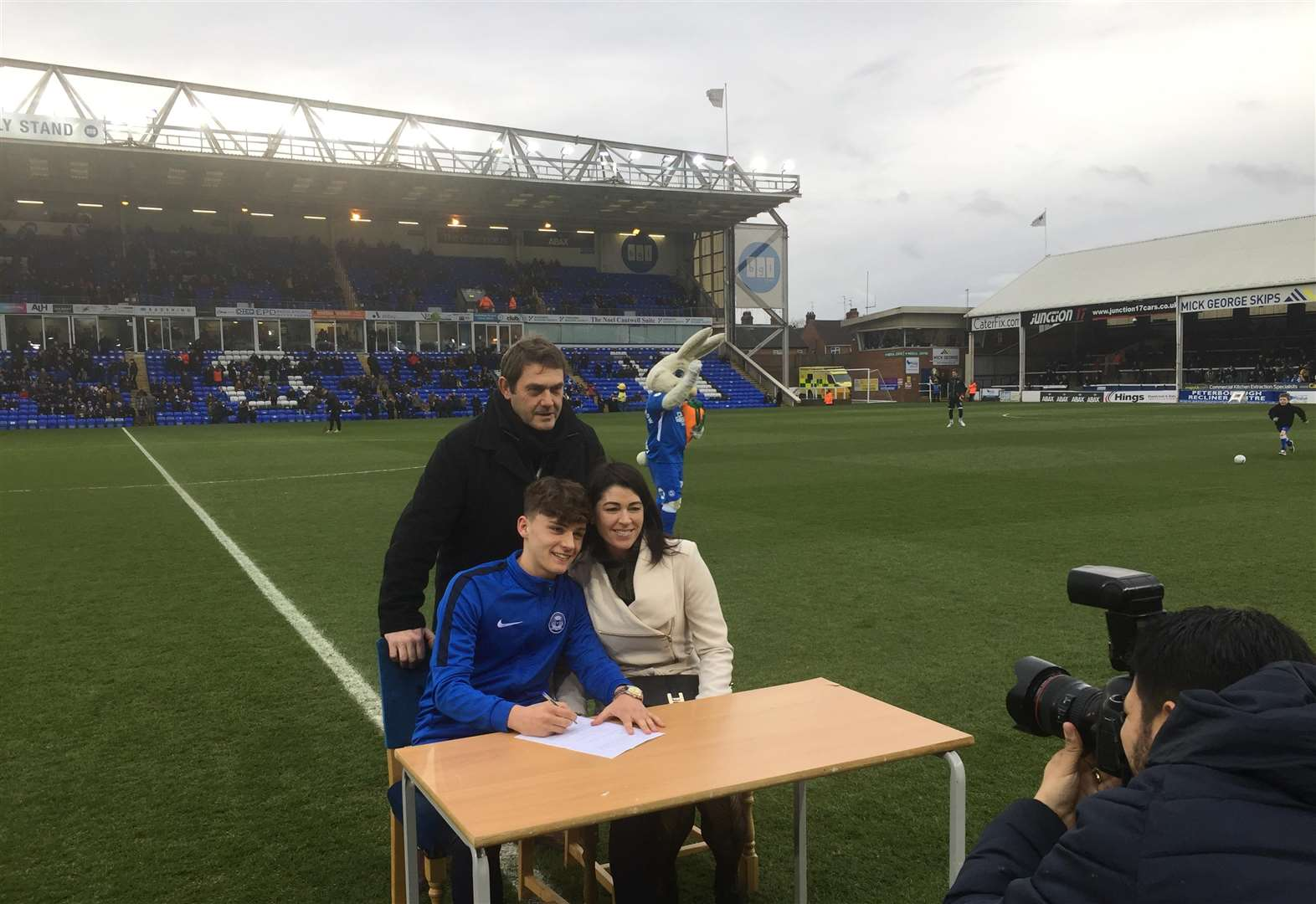 Wisbech youngster Harrison Burrows signs Peterborough United professional contract at ABAX Stadium ahead of Rochdale League One game as perfect birthday present