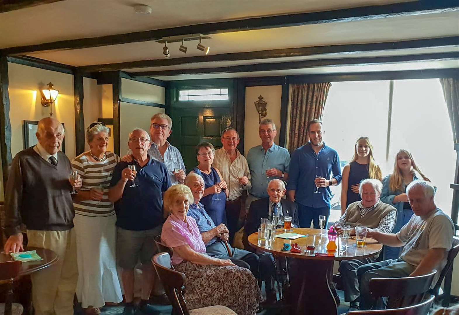 Cheers as Fen man Ken Humphrey celebrates his 104th birthday with a pint at his local