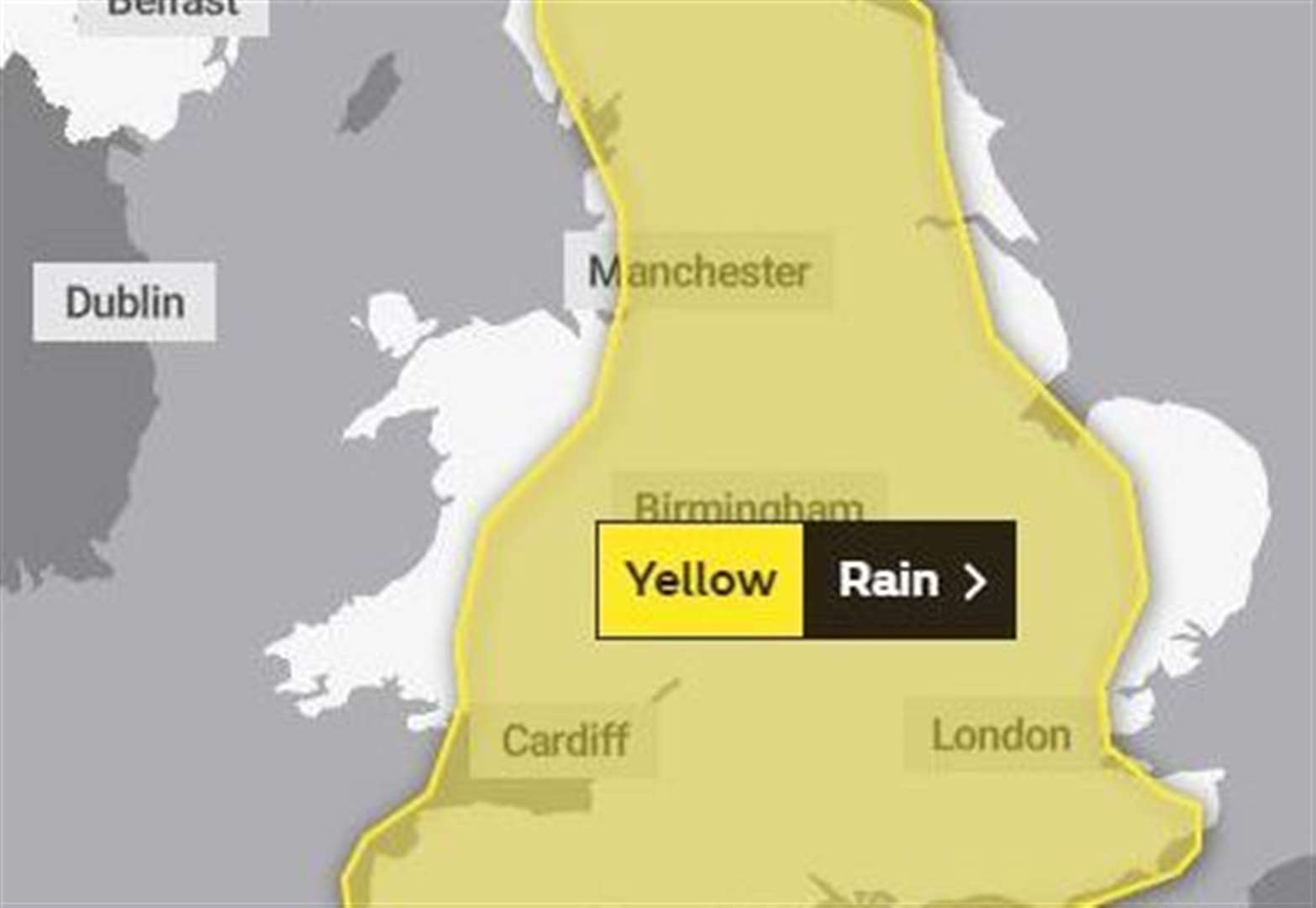 The Met Office has issued a yellow weather warning after heavy rain and thunder storms are forecast