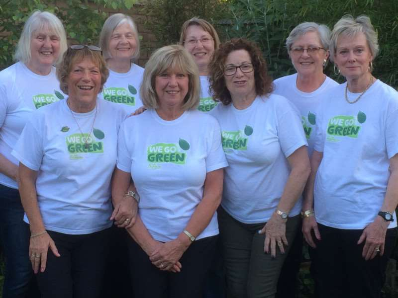 Macmillan's March, Chatteris and District fundraising group members in their 'Go Green' t-shirts.