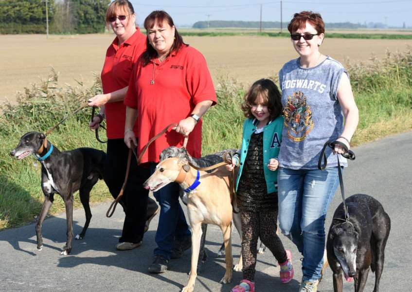 Wisbech Retired Greyhound Trust, open day 'left to right 'Janice Freshwater with Bret, Barbara Townsend Bud and Smokey, Chloe Chaplin, Michelle Chaplin with Bella ANL-150510-091332009