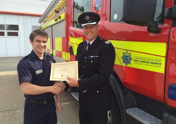Full time chef Daniel Barsby is now an on-call firefighter at Whittlesey