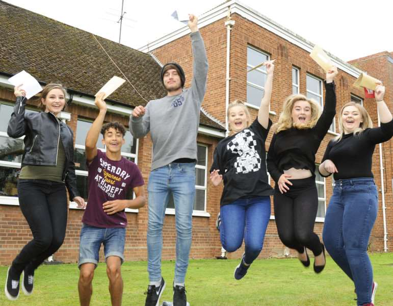 GCSE Results Day for Students at Cromwell Community College Chatteris'Celebration time for this group of students ANL-160825-131723009