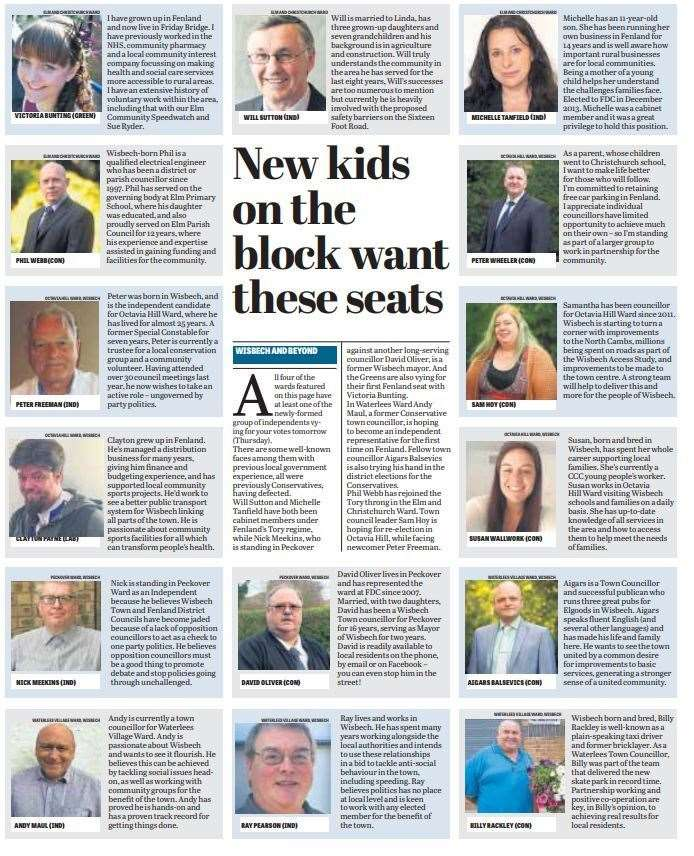 Fenland prepares to go to the polls - here is a round-up of candidates published in this week's Citizen. (9461371)