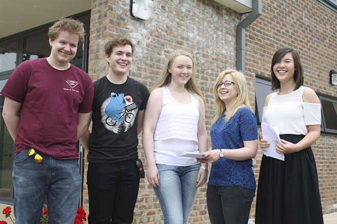 Andy Turner, Chris Turner, Zoe Olive, Georgia-Mari Spencer and Eisha Young pick up their A-level results at Wisbech Grammar School