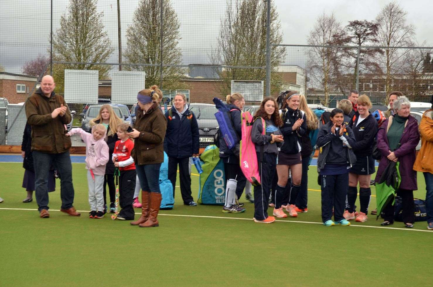 Peele Leisure Centre, Long Sutton Hockey Club, official opening of new pitch, followed by Long Sutton ladies v Ipswich ladies, Tape cutting captain Tania White, Peter Worth, Nick Worth, fund raising Lynne Braggington, Lorrianne Wallis, Steward Wright, Stef Fox, (31642090)