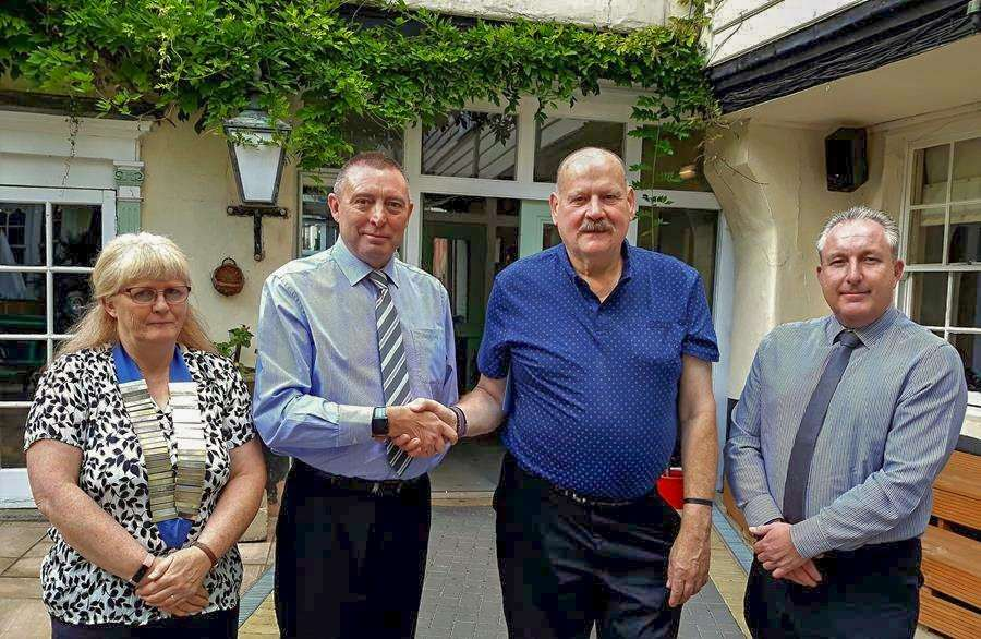 From left: Sharon Mace, Kevin Smith, Roger Vanhinsbergh and Kevin Heaney at the special farewell lunch marking Roger's departure from the Horsefair Shopping Centre after 14 years after he was made redundant. (4164356)