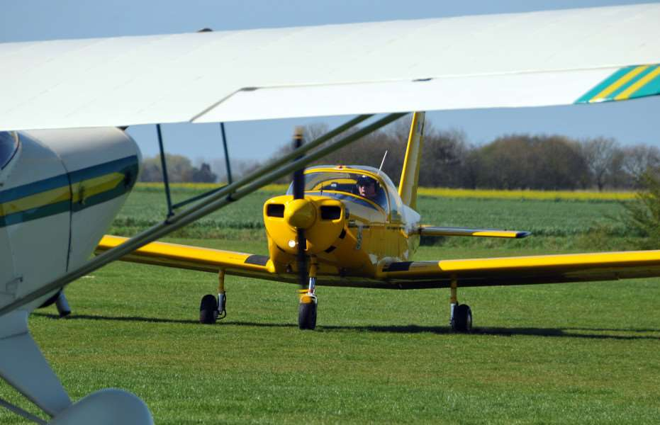 A different aeroplane than that involved in the accident flies into the airfield on the day.