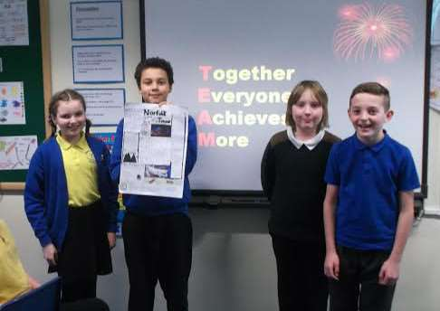 Anthony Curton pupils Hannah Bantoft, Alec Ackah, Charly Spurge and Ben Walters at the enterprise day