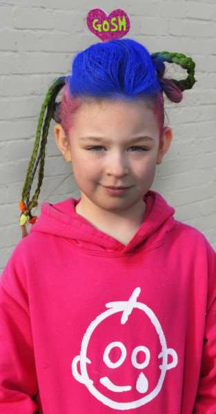 Ellena Sequerah-Salmon takes part in a big hair fundraiser at Burrowmoor Primary School in March to thank Great Ormond Street Hospital for helping to save her life.