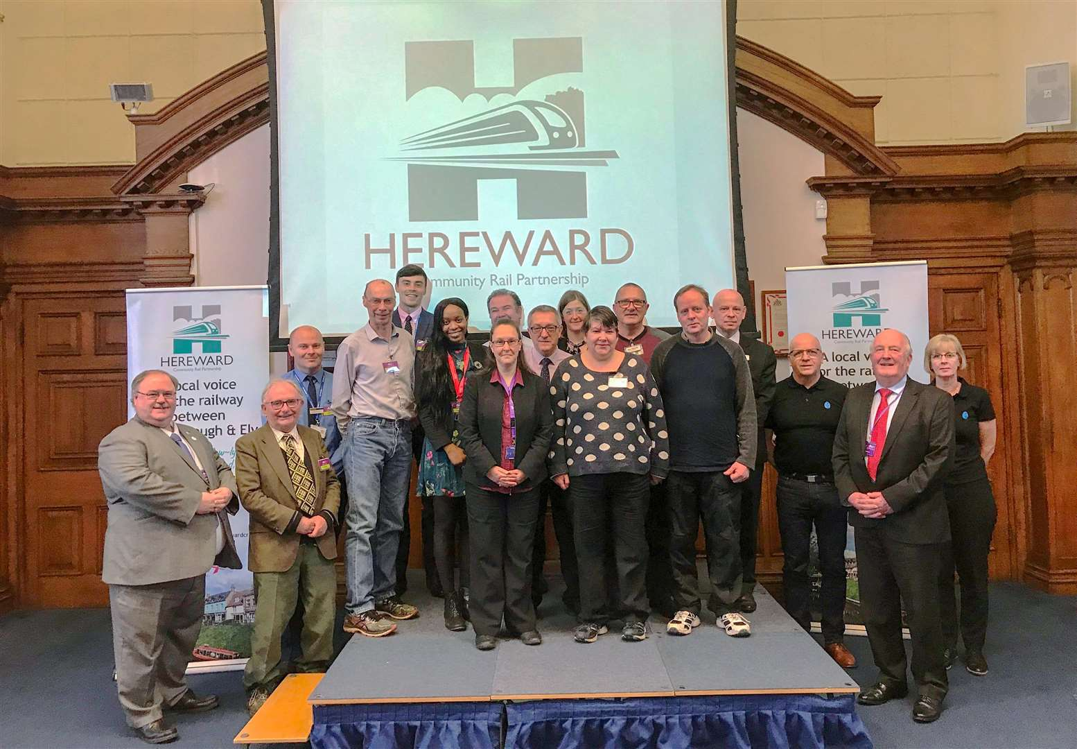 Representatives from Hereward CRP partners Fenland District Council, and train operators CrossCountry, East Midlands Trains and Greater Anglia join with other steering group members, volunteers and local organisations to unveil the new Hereward CRP logo. (7218842)