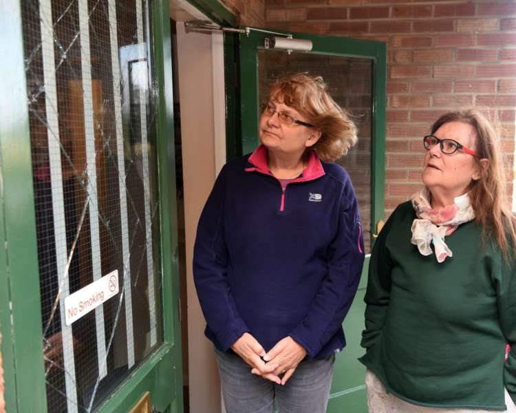 West Walton Village Hall that has been vandalised following a party.'Anne Williams (friend of the hall) and Lenner Mockford (vice ch of village hall committee) ANL-160510-083340009