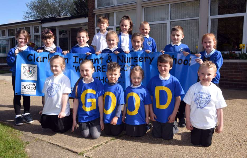 Children at Wisbech's Clarkson Infant and Nursery School celebrate being rated as 'good' by Ofsted.