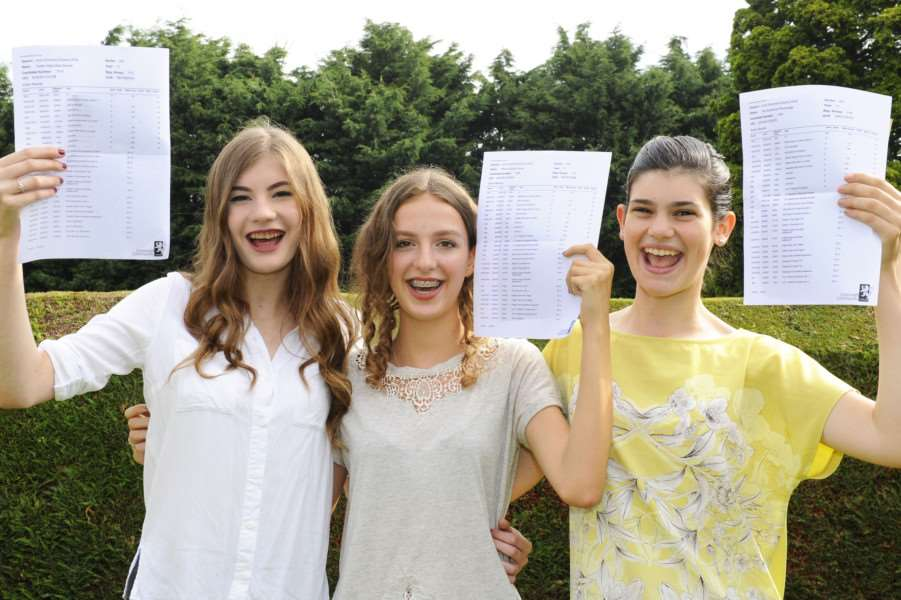 GCSE Results Day for Students at Cromwell Community College Chatteris'LtoR, Caitlin Davies, Rhian Young, Teri Parsonage ANL-160825-131749009