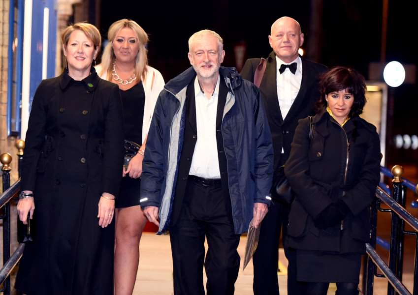 Labour Leader Jeremy Corbyn with wife Laura, front right, and Jo Rust, front left. Behind is Ms Rust's husband Marcus and daughter Emilia