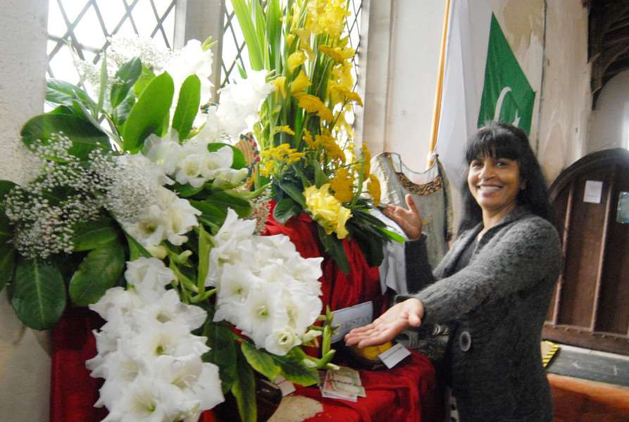 HAPPIER DAYS: Bernice Williams with her arrangement at Lutton Flower Festival.