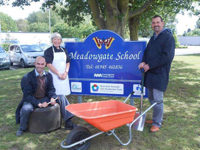 Alison Fletcher (Catering), Alan Ruff (Vehicle Technology) and Tim Jellis (Horticulture) at Meadowgate School, Wisbech