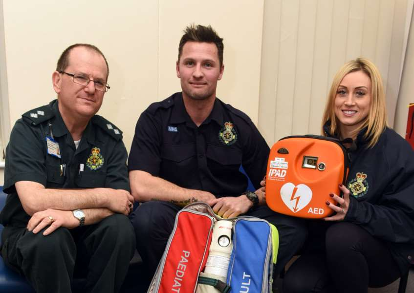 First Responder Paul Sweeney is appealing for more volunteers to join the group'left to right Steve Hammond area trainer, Paul Sweeney Coordinator and Emma Morris responder ANL-160902-082909009