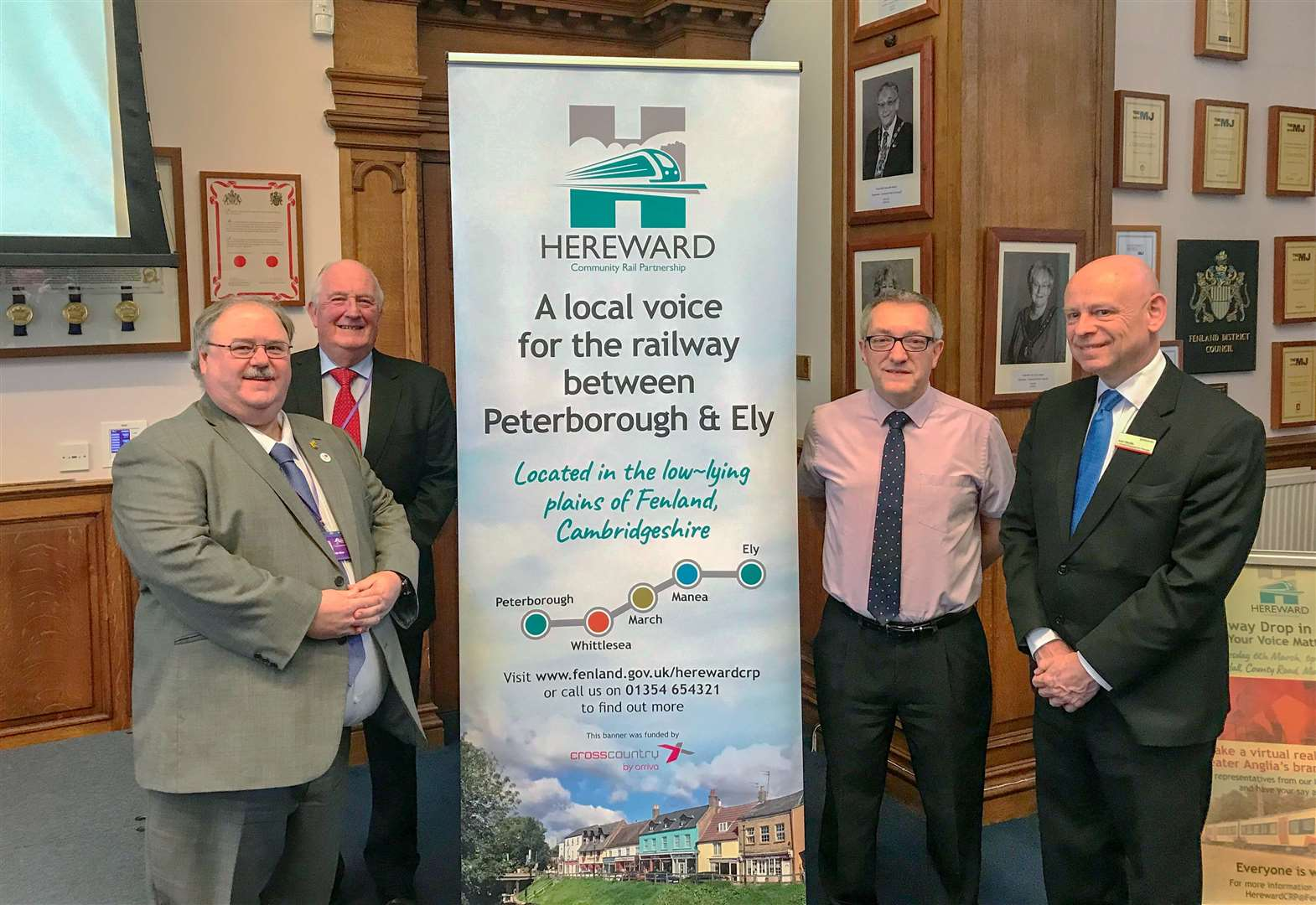 Pictured at the relaunch event are, from left, Cllr David Oliver, FDC's Portfolio Holder for Transport, Cllr Kit Owen, Paul Nelson, Hereward CRP Chairman and Passenger Transport Manager at Cambridgeshire County Council, and Alan Neville, Customer Engagement Manager at Greater Anglia.(7218848)