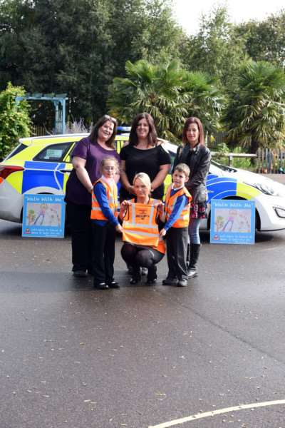 Presntation of 200-plus hi-vis tabards for Walk With Me Campaign at Clarkson Infant School
