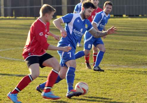 March v Downham football action ANL-150903-085613009
