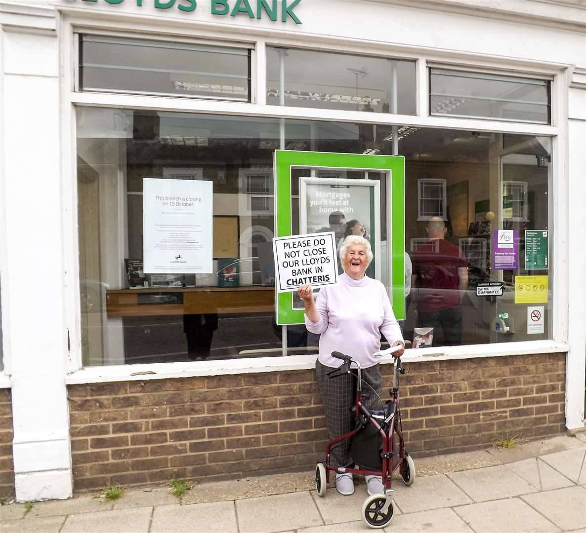 Mary Green staged a one-woman campaign earlier in the summer to save Chatteris' Lloyds bank.