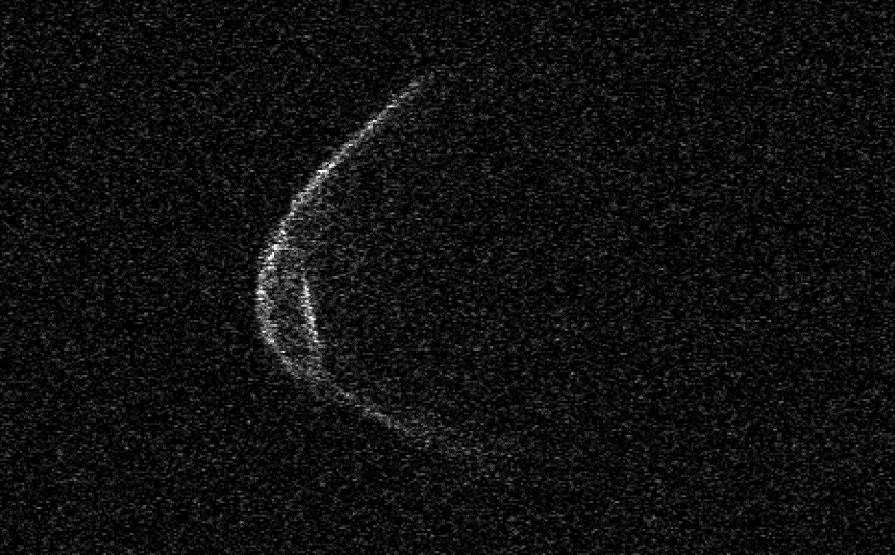 An image of the asteroid taken by scientists at the Arecibo Observatory in Puerto Rico