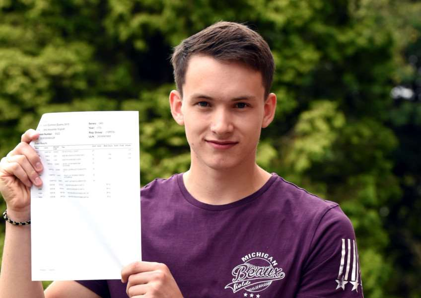 A level results day at Cromwell College Chatteris'Jake Wignall 2A's and 1A* ANL-150813-112755009