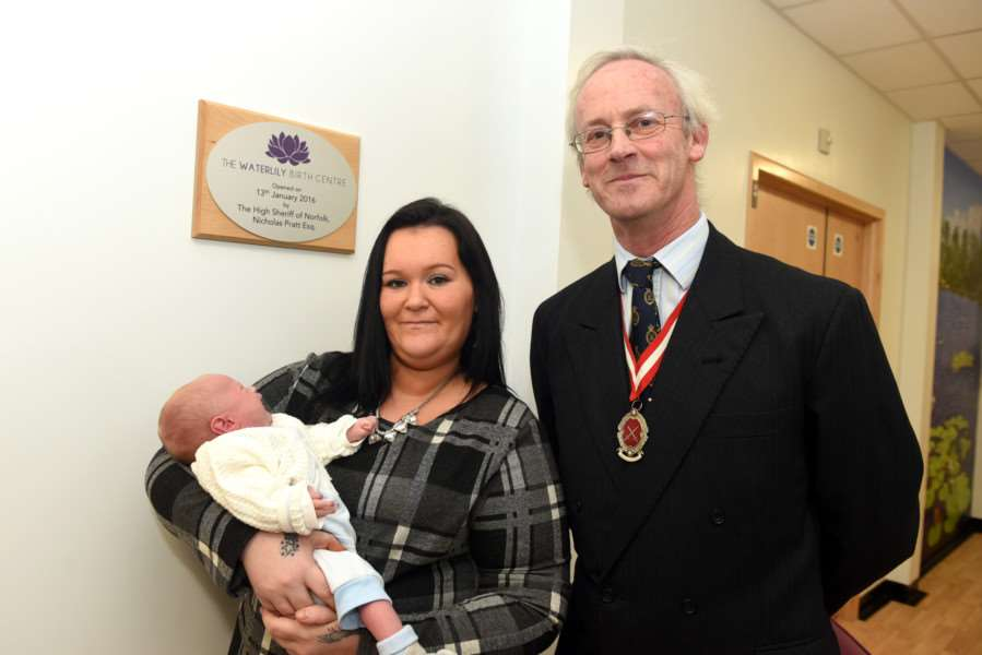 Official opening of new midwife-led birthing unit, Queen Elizabeth Hospital'Roxanne Smith, Alfie Knight and High Sheriff Nicholas Pratt ANL-160113-142658009