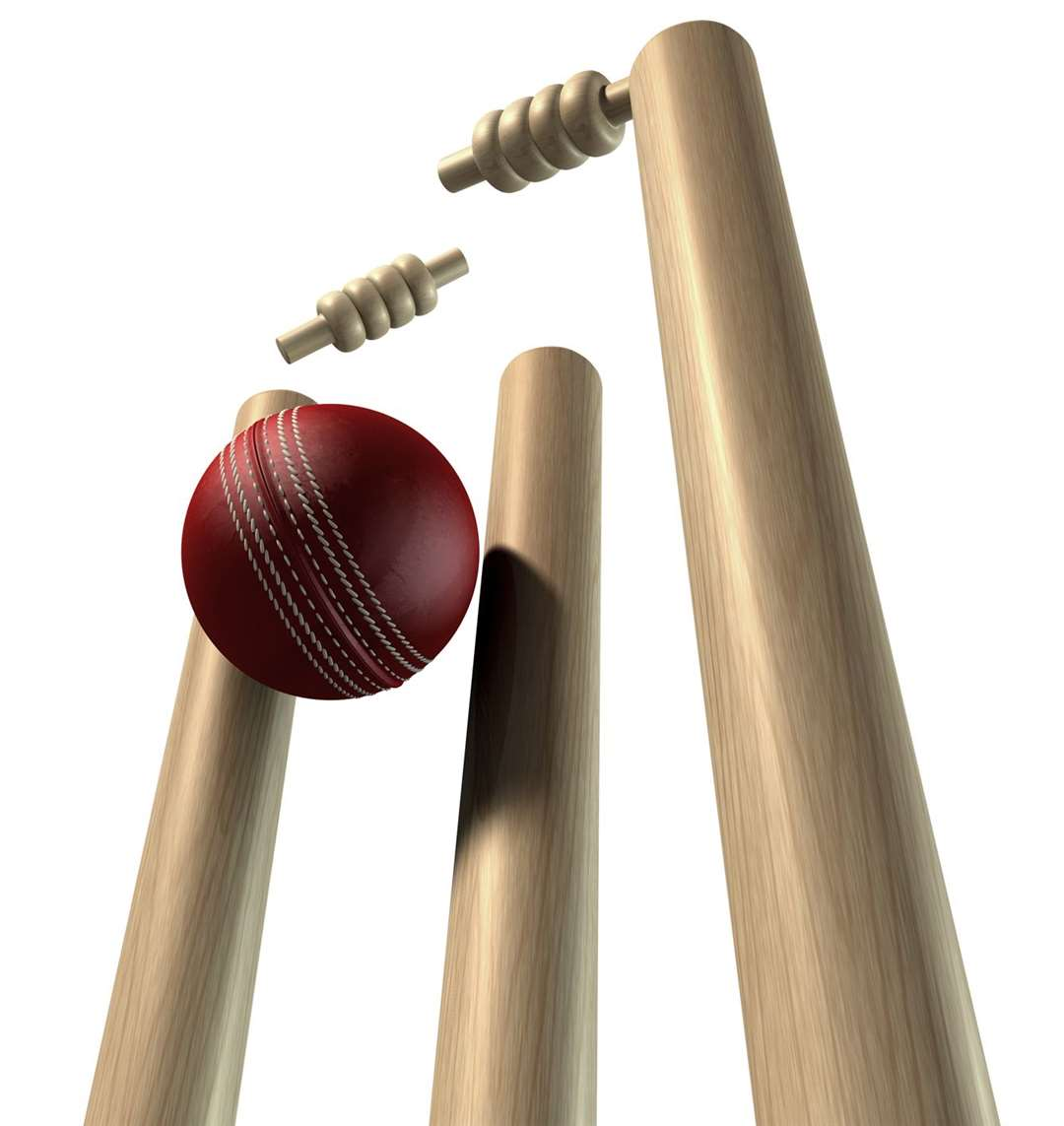 Cricket Ball Hitting Wickets Perspective Isolated. (14838278)