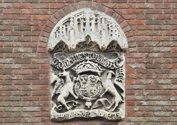 The Crest Above The Entrance To Kings Lynn Court In College Lane