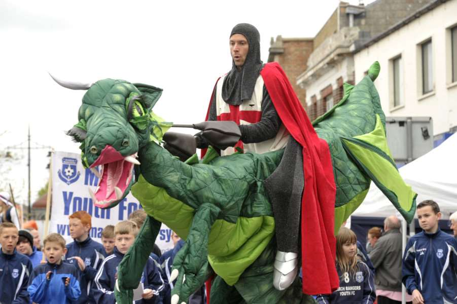 St George and his dragon wow the crowds at March's St George's Fayre on Sunday.