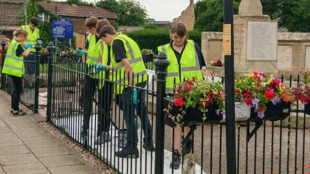 Apprentices from Metalcraft, refurbished the railings surrounding the Chatteris War Memorial.