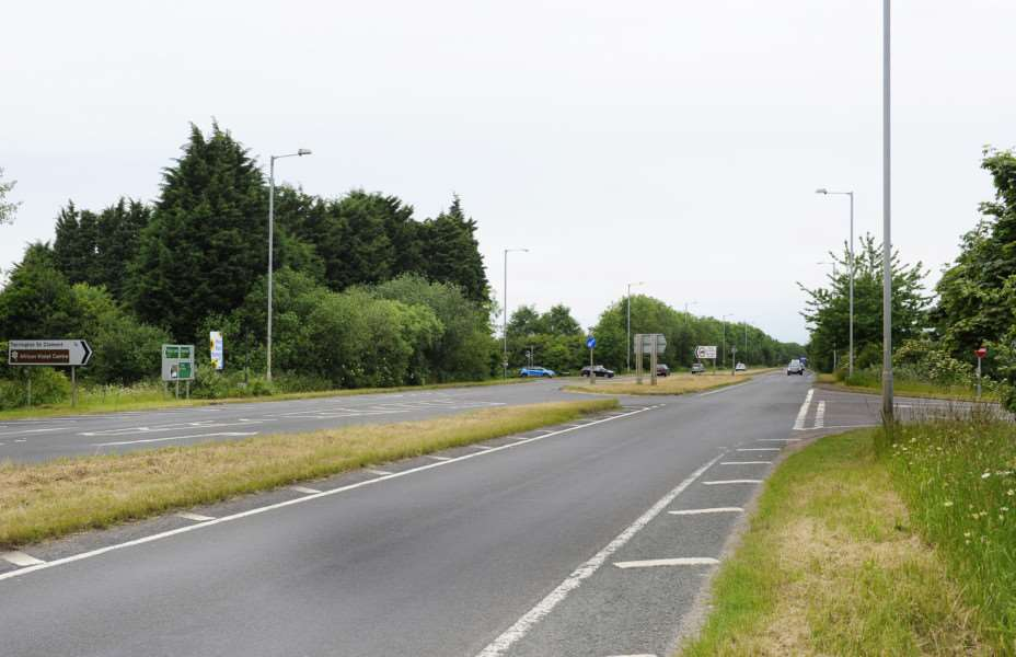Station Road Junction (right of picture) on the A17 at Terrington St Clement ANL-150620-114412009