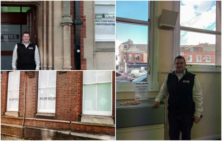 Craig McGill outside the old Post Office, which is now the offices of WMS Recruit (top). Right: you can clearly see out of the building from inside. Bottom: The signs from outside with far right one of the windows that is still painted out.