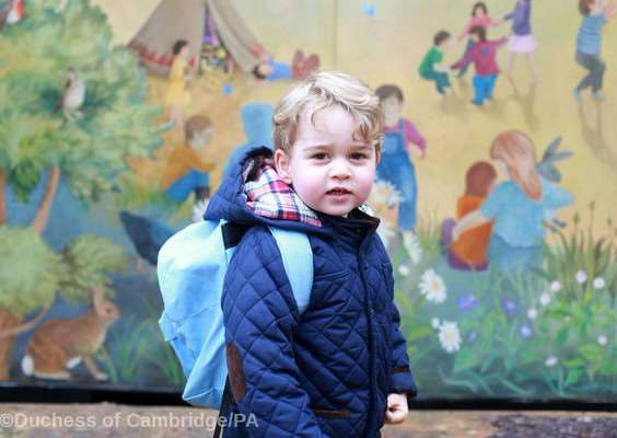 Prince George pictured on his first day at nursery in Norfolk