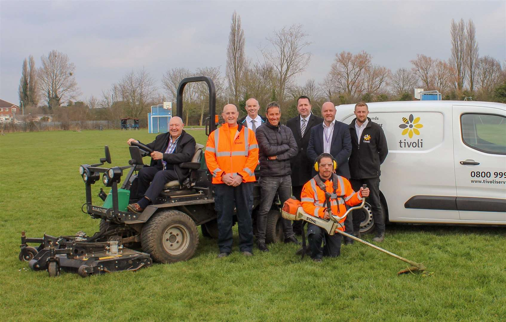 Pictured from left, are Cllr Peter Murphy, Fenland 's Portfolio Holder for the Environment, Tivoli's Phil Fowler, Phil Hughes, FDC's Head of Parks and Open Spaces, Kevin Wilkins, FDC's Horticultural Officer, Nigel Payne, Regional Director for Tivoli, Simon Bell, FDC's Leisure and Open Spaces Contract Manager, and Marcus Pearson, Contracts Manager for Tivoli, with Tivoli's Mark Wakefield at the front. (7549002)