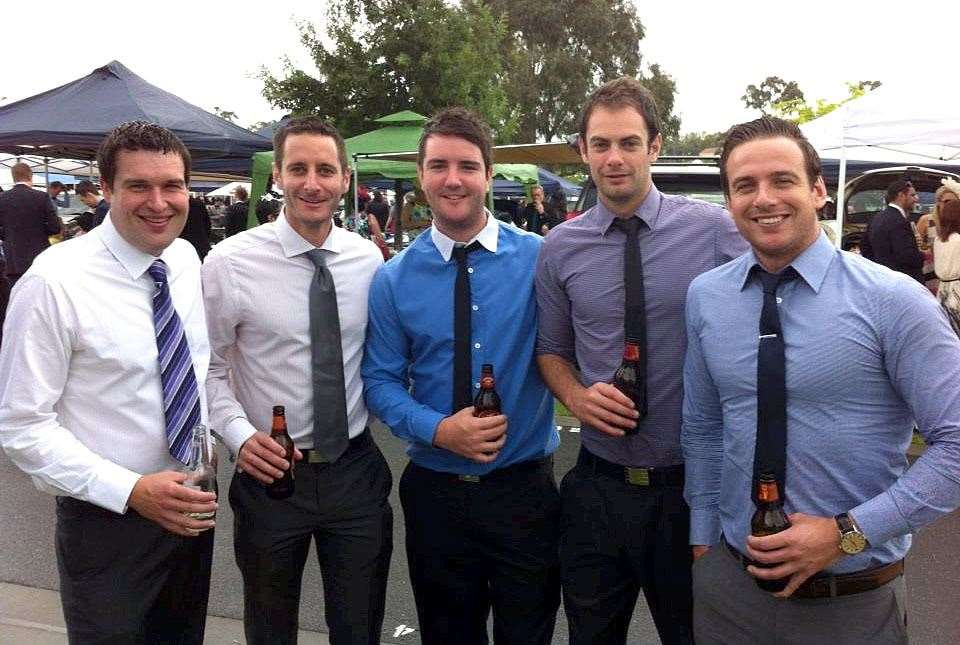 A picture of past & present March Town Cricket Club cricketers at the Melbourne Cup Race Meeting at Flemington Park, Melbourne on Tuesday..Pictured left to right-.Chris Peckett, Chris Ringham, Matt Willcox,Steve Seymour & Andy Mills.. (14439394)