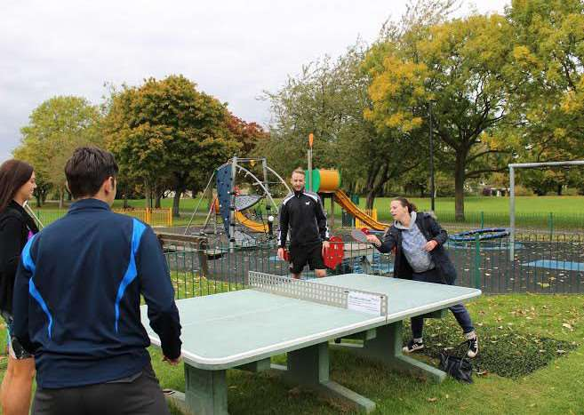 Michell Tansfield tries out the new outdoor table tennis table in March