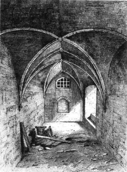 The crypt under 29 Market Place illustration from Walker & Craddock's 'History of Wisbech' 1849.