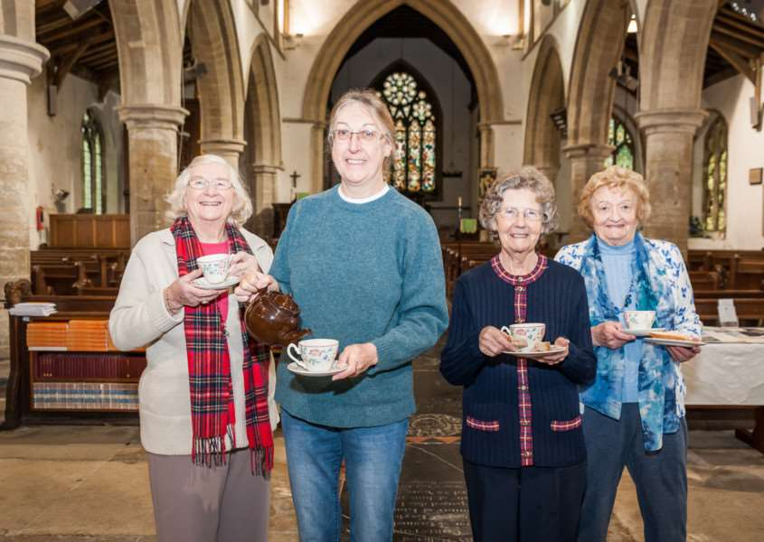 Enjoying a cup of tea and sandwich LtoR, Mary Green, Jane Feaviour-Clarke, Joan Craven and Mary Hay at the drop in session at All Saints Church, Elm. ANL-160102-074609009