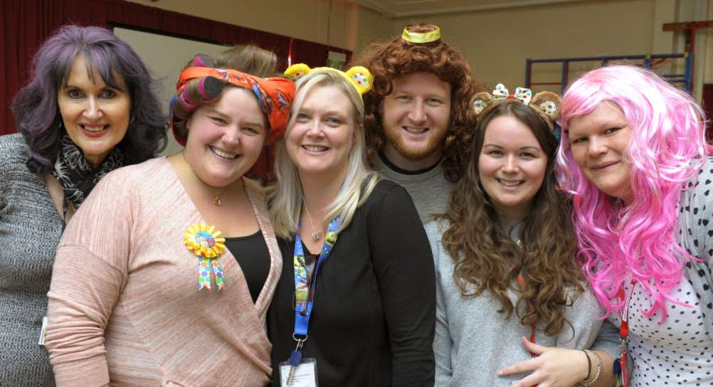 Burrowmoor Primary School in March crazy hair day for Children In Need Appeal'Some of the staff taking part, LtoR, Susan Dobbs (Head Teacher), Charlene Elliott, Mandy Mc Clenaghan, Adam Daniel, Becky Wood, Laura Wilkinson ANL-161118-154300009