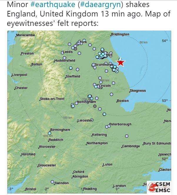 Tremors from an earthquake in Grimsby were reportedly felt in Cambridgeshire on Saturday night. (2467344)
