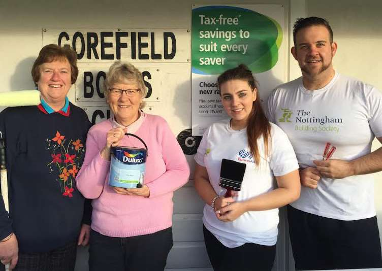 (l-r): Margaret Hunt and Betty Reeve from Gorefield Bowls Club with The Nottingham's Wisbech branch customer adviser Shirley Cooper and building society manager David Boyce.