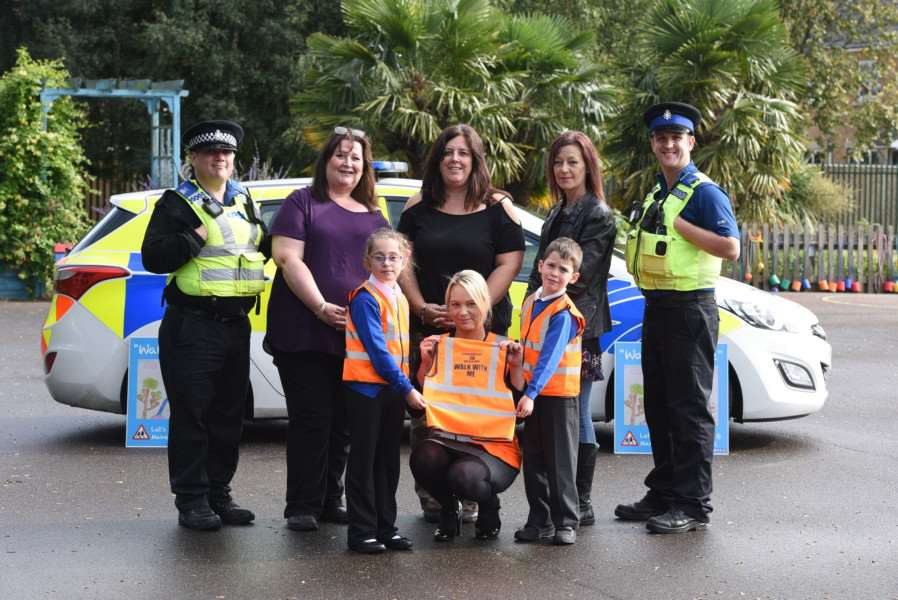 Presntation of 200-plus hi-vis tabards for Walk With Me Campaign at Clarkson Infant School''Andy Bush PCSO, Stephanie Carney, Emma Barnard, Lucie Wenn and PCSO Scott Clarke''Front Hannah Key, Claire Weight GB digger hire, Oliver Davallou